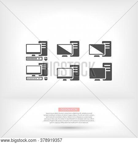 Pc Monitor Desktop Computer Device Screens Set Vector Icon Mouse