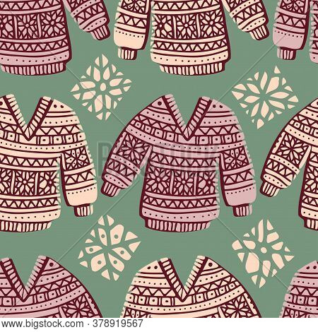 Seamless Cute Vector Design Of Knitted Ornamental Colorful Winter Sweaters