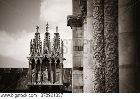 Beautiful detail pattern sculpture of church in Pisa Piazza dei Miracoli in Italy