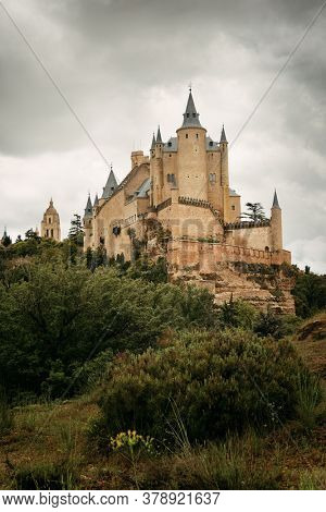 Alcazar of Segovia as the famous landmark in Spain.