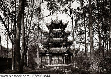 Traditional Chinese pavilion in woods in Dazu Chongqing China