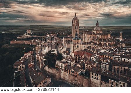 Segovia Cathedral aerial view in Spain.