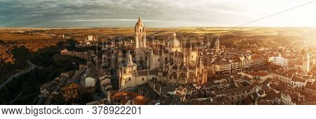 Segovia Cathedral aerial panorama view at sunrise in Spain.