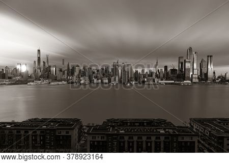 New York City midtown skyline with architecture viewed from New Jersey