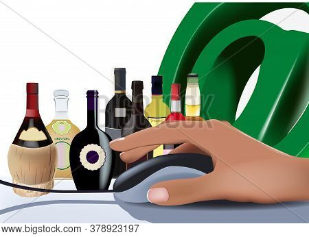 Hand With Internet Mouse And Liquor Bottles Hand With Internet Mouse And Liquor Bottles