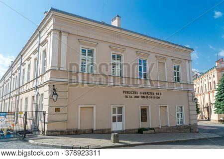 Jaroslaw, Poland - June 12, 2020: Public Junior High School No. 3 Named After Priest Jan Twardowski.