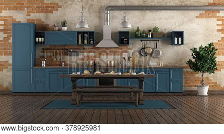 Classic Style Blue Kitchen In A Old Room With Brick Wall - 3d Rendering