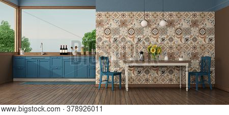 Kitchen Under The Window With Table In Front Of A Wall With Vintage Tiles - 3d Rendering