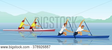 Canoeing Sprint Race Competition Between Male Teams. Recreational Boating Activity Paddle Sport With