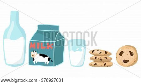 Milk And Cookies Set. Bottle, Glass And Carton Of Milk With Cow, American Oatmeal Cookies With Choco