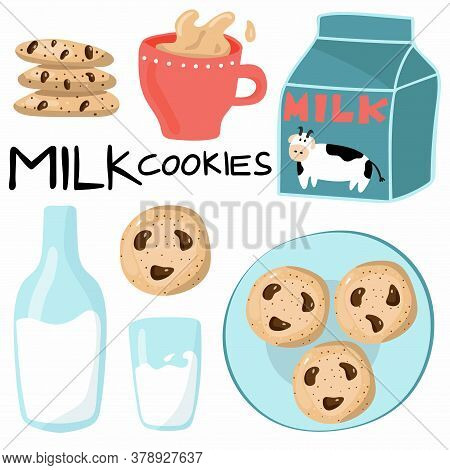 Milk And Cookies Set With Lettering. Bottle, Glass And Carton Of Milk, American Oatmeal Cookies With