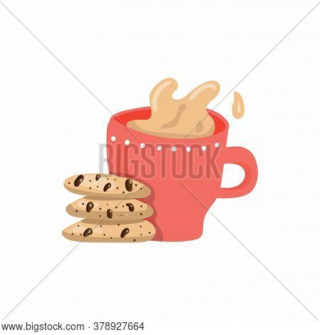 Coffee And Cookies. Cup Of Tea With Milk And American Oatmeal Cookies With Chocolate. Food And Drink