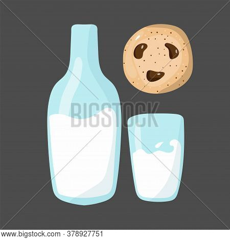 Milk And Cookies. Glass And Bottle Of Milk And American Oatmeal Cookies With Chocolate And Text. Foo