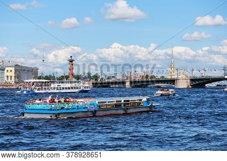 Russia, St.petersburg - July 27, 2020: Pleasure Passenger Ships In The City.