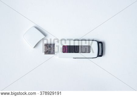 Usb Flash Card On A White Background. Information Carrier. Modern Technology. Transfer Of Informatio