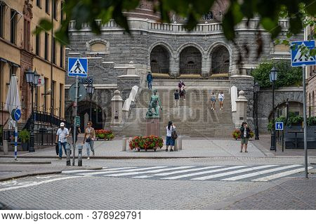 Helsingborg, Sweden - July 26, 2020: The Lower Part Of The Stairs Leading Up To The Core, Or Karnan,