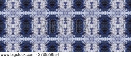 Tie Dye Pattern. Hand Drawn Shibori Print. Blue Ink Background. Modern Batik Tile. Indigo Geometric