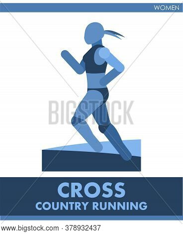 Cross Country Running Pictogram. Woman Competes In Run. Icon Of Sportsman Track And Field. Women Or