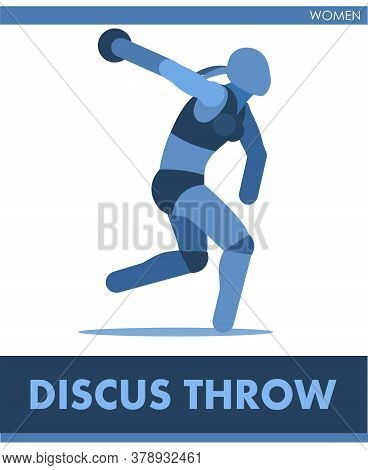 Discus Throw Pictogram. Woman Competes In Throwing Disk. Icon Of Sportsman Track And Field. Women Or