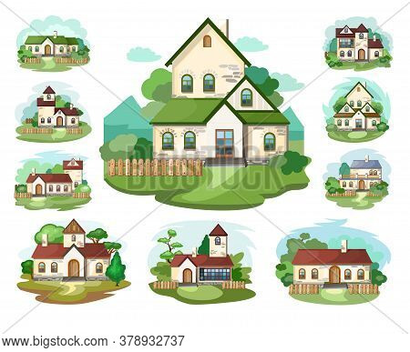 The House Is Fabulous, Cartoon. Set. Village Cottage. House In The Forest. Holiday. Cottage, Cottage