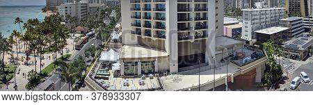 Waikiki - May 13, 2018:  Panoramic Aerial Of Waikiki Beach, Hyatt Regency Waikiki Beach Resort And S
