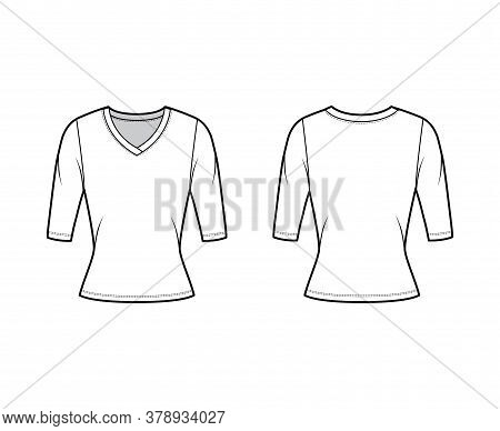 V-neck Jersey Sweater Technical Fashion Illustration With Elbow Sleeves, Close-fitting Shape. Flat O