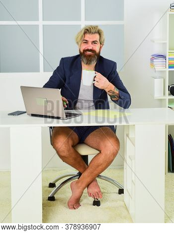 Boss At Modern Laptop Barefooted. Work Chat Online. Ceo Use Pc Gadget. Man With Notebook For Online