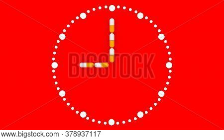 Clock Pills. Pill Tablet Clock. Pill Time. Medication Schedule. Red Background. 3D. 3D Rendering