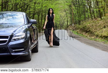 Travel Is To Discover. Car And Wanderlust Girl Travel On Foot. Transport And Transportation. Sensual