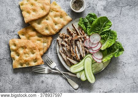 Mediterranean Lunch - Crispy Italian Focaccia, Grilled Turkey, Green Romaine Salad And Fresh Vegetab