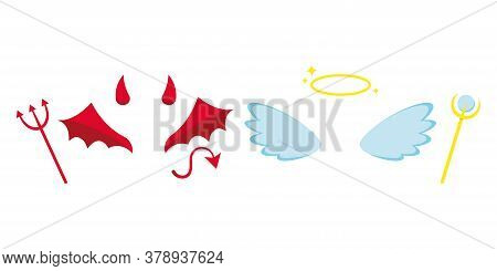 Angel And Devil Or Demon Costume Attributes Icon Set Isolated On White Background - Horns, Light Ang