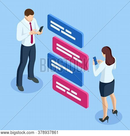 Isometric Businessman Character Communication Online Social Network. Social Media Internet Connectio