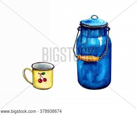 Watercolor Illustration.a Set Of Old Tableware For The Interior, A Yellow Mug And A Vintage Enameled