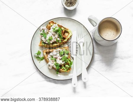 Savory Zucchini Waffles With Tuna, Cream Cheese Pate And Coffee On A Light Background, Top View. Del