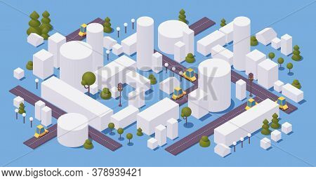 Concept Isometric City With Buildings And Trees, Roads And Cars. White Houses On Blue Background. 3d