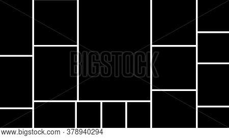 Templates Collage Frames Photos Parts, Picture Or Illustration. Black Mood Board Template. Vector Te