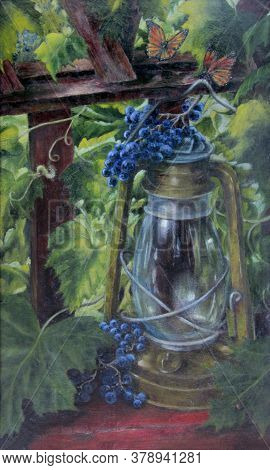 Still Life With An Old Lamp And Grapes. Oil Painting.