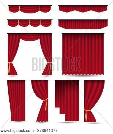 Set Of Red Luxury Silk Velvet Curtains