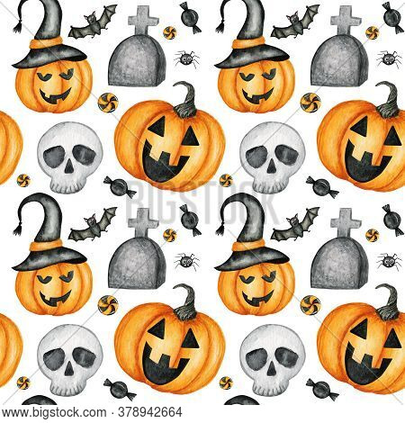 Happy Halloween Seamless Pattern With Jack O Lantern Pumpkins, Skull, Bat, Spider Holiday Party Deco
