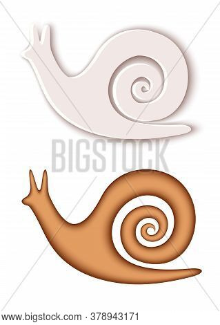 Vector Modern Volumetric Snails. Trendy Craft Style Illustration. 3d Effect Imitation