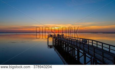 Sunset On Mobile Bay From Daphne, Alabama Bayfront Park Pavilion In July 2020
