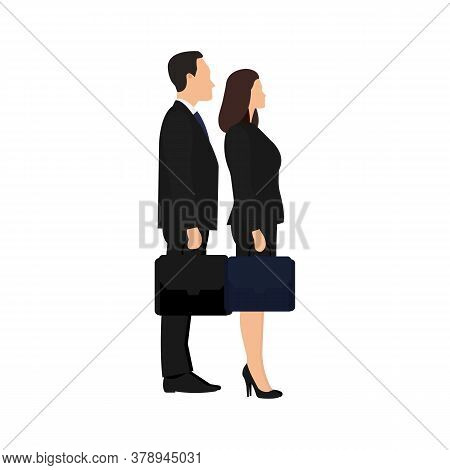 Businessman And Businesswoman Are Standing Together Confidently Looking Forward. Vector Illustration