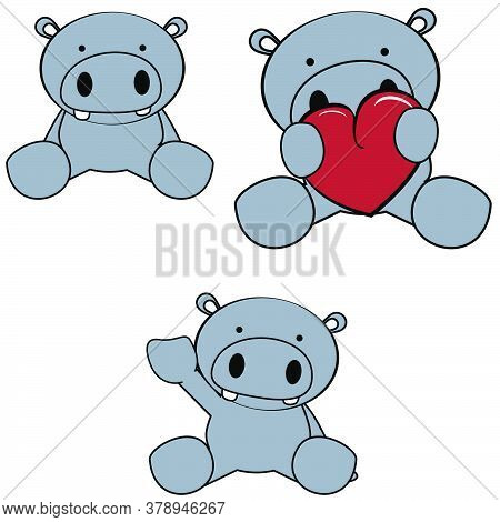 Cute Little Baby Hippo Cartoon Sitting Set Collection In Vector Format