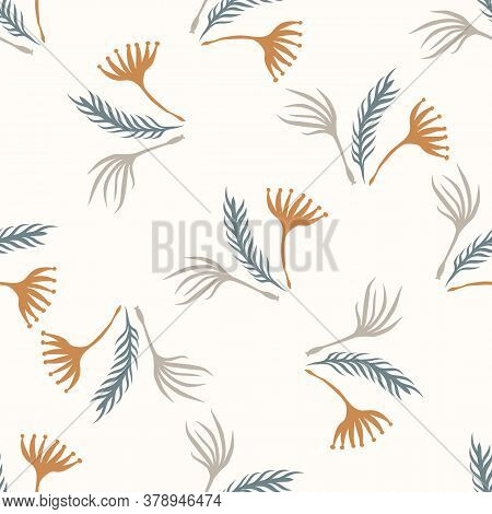 Seamless Background Gender Neutral Baby Leaf Pattern. Simple Whimsical Minimal Earthy 2 Tone Color.