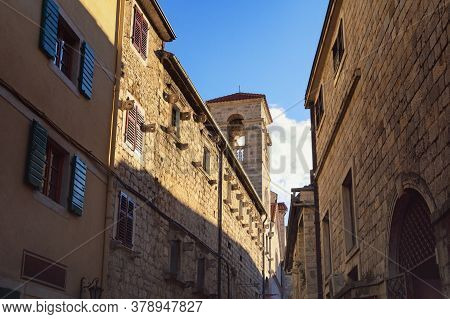Light And Shadow, Narrow Street Of Ancient Mediterranean Town On Sunny Winter Day. Montenegro. Old T