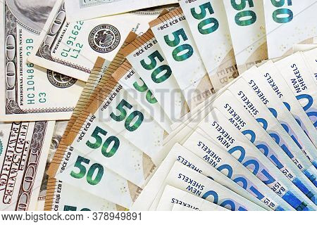 Fan New Israeli Shekel Series C And 50 Euro. Fan Of Shekel Banknotes And 50 Euroon On 100 American D