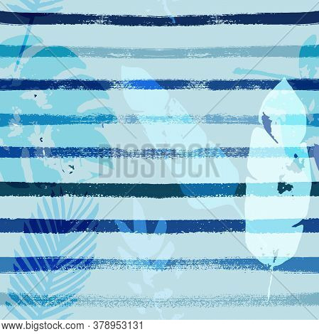 Sailor Stripes Vector Seamless Pattern, Blue Pink Purple Indigo Floral Textile. Cool Chick Jungle Le