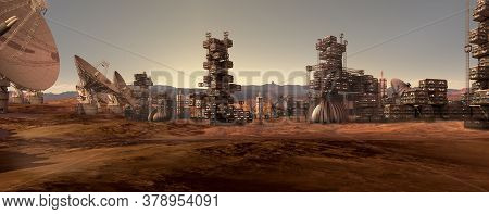 3d Illustration Of A Mars Colony, On A Red Rocky Terrain With An Industrial, Modular, Architecture A