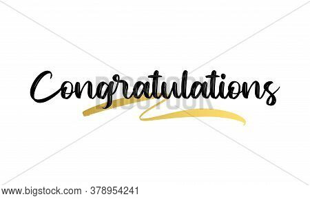 Congratulations Calligraphy With Gold Effect. Hand Written Text. Lettering. Calligraphic Banner Vect