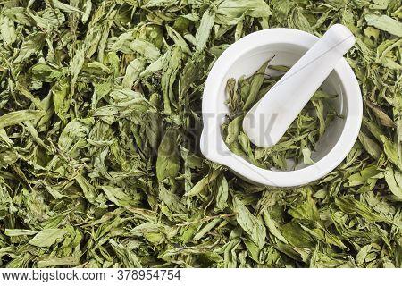 Dry Stevia Leaves - Stevia Rebaudiana. Top View